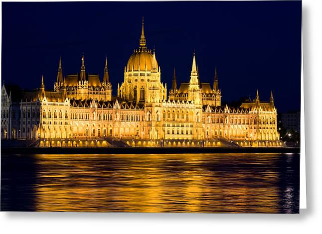 Neogothic Greeting Cards - Budapest Parliament at Night Greeting Card by Artur Bogacki