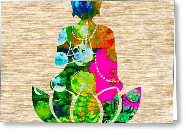 Yoga Greeting Cards - Buddah On A Lotus Greeting Card by Marvin Blaine