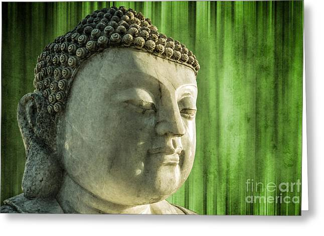 Statue Portrait Greeting Cards - Buddha - bamboo Greeting Card by Hannes Cmarits