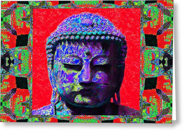 Budha Greeting Cards - Buddha Abstract Window 20130130p55 Greeting Card by Wingsdomain Art and Photography