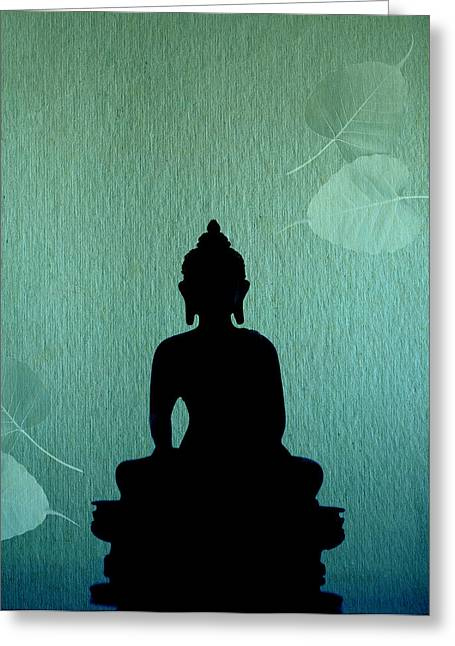 Bodhisatva Greeting Cards - Buddha And Bodhi Leaves Greeting Card by Niteen Kasle