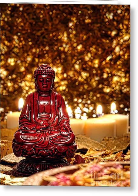 Enlightenment Photographs Greeting Cards - Buddha and Candles Greeting Card by Olivier Le Queinec