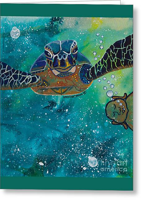 Magickal Greeting Cards - Buddha and the Divine Sea Turtle No. 1372 Greeting Card by Ilisa  Millermoon