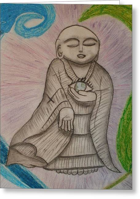 Robe Pastels Greeting Cards - Buddha and the Eye of the World Greeting Card by Thomasina Durkay