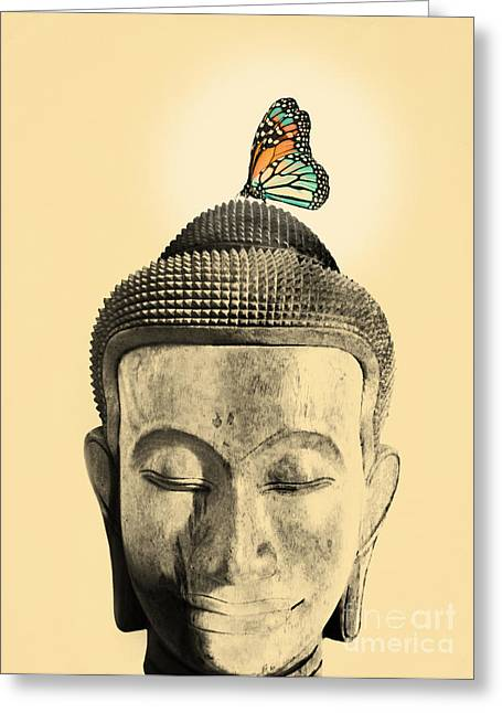 Moth Greeting Cards - Buddha and Tranquility Greeting Card by Budi Kwan