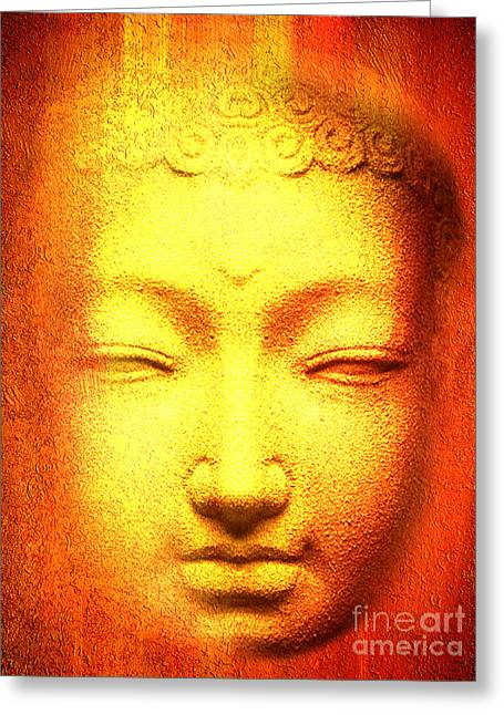 Statue Portrait Greeting Cards - Buddha Apparition Greeting Card by Khalil Houri