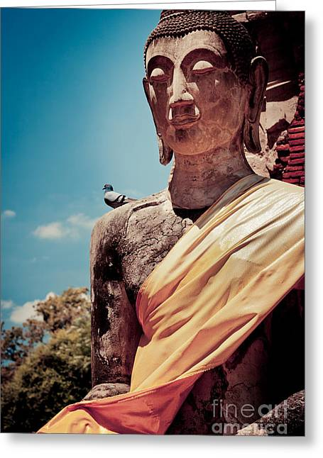 Ayuthaya Greeting Cards - Buddha at Ayutthaya Thailand Greeting Card by Fototrav Print