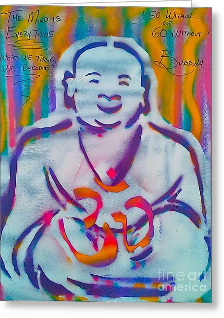 Metaphysics Greeting Cards - BUDDHA blue SMILING Greeting Card by Tony B Conscious