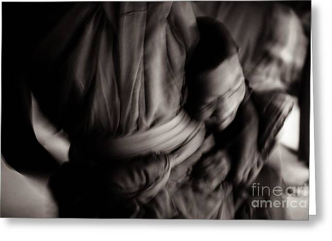 Buddha -boys Will Be Boys - Black And White Version Greeting Card by Dean Harte