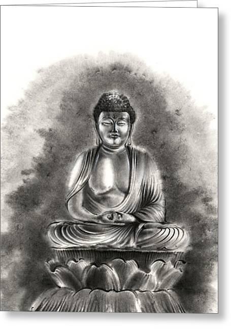 Buddha Buddhist Sumi-e Tibetan Calligraphy Original Ink Painting Artwork Greeting Card by Mariusz Szmerdt