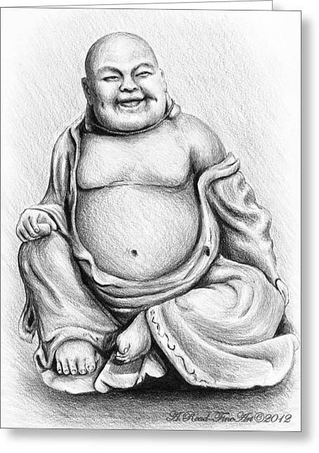 Uplifting Drawings Greeting Cards - Buddha Buddy Greeting Card by Andrew Read