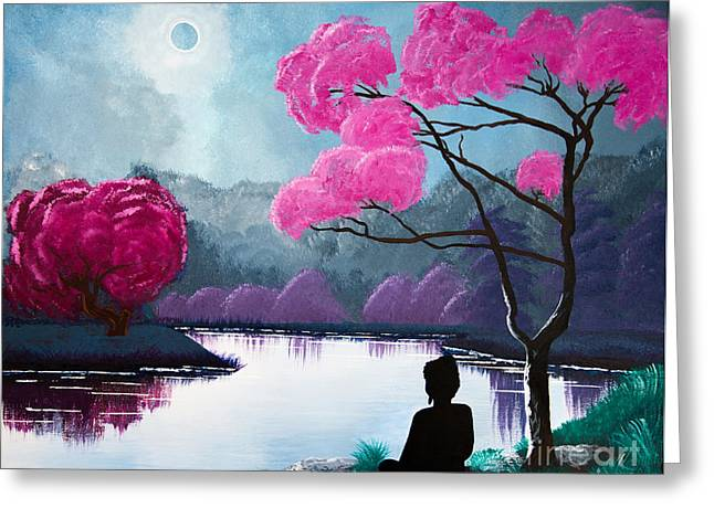 Recently Sold -  - Reflection In Water Greeting Cards - Buddha By The Lake Greeting Card by Mindah-Lee Kumar