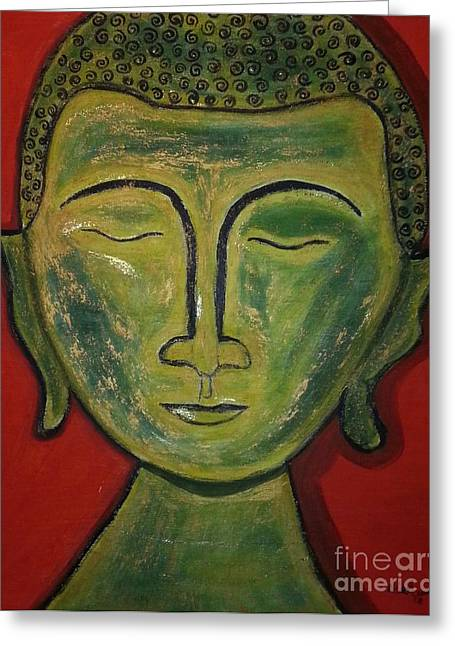 Religious Mixed Media Greeting Cards - Buddha Greeting Card by Debra Acevedo