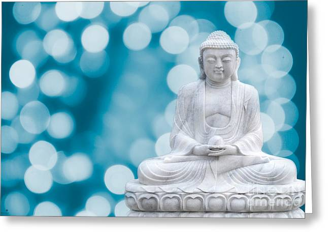 Hannes Greeting Cards - Buddha Enlightenment Blue Greeting Card by Hannes Cmarits
