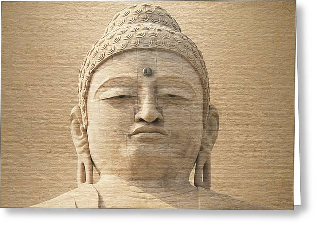 Enlightened Path Greeting Cards - Buddha Face Greeting Card by Niteen Kasle