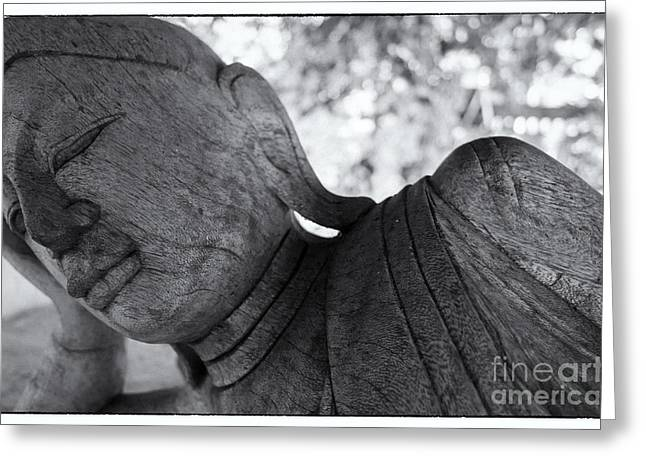 Wooden Sculpture Greeting Cards - Buddha Face Greeting Card by Setsiri Silapasuwanchai