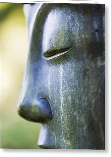 Religious Greeting Cards - Buddha Face Greeting Card by Tim Gainey