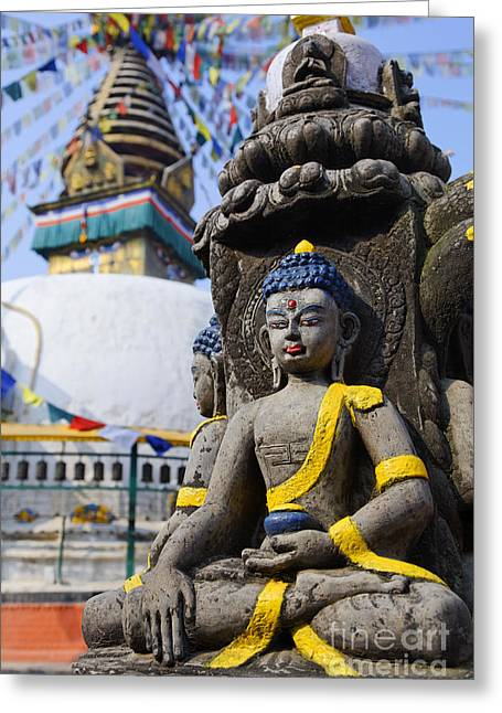 Religious Art Photographs Greeting Cards - Buddha Figure at the Kathe Simbhu Stupa Greeting Card by Robert Preston
