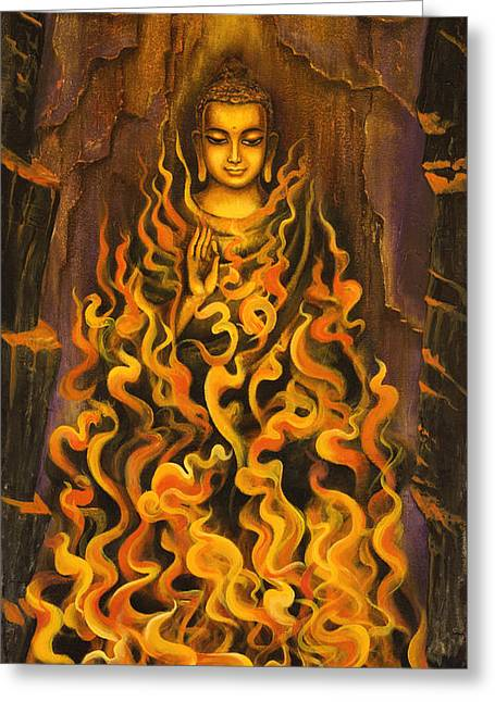 Sacred Paintings Greeting Cards - Buddha. Fire of meditation Greeting Card by Vrindavan Das