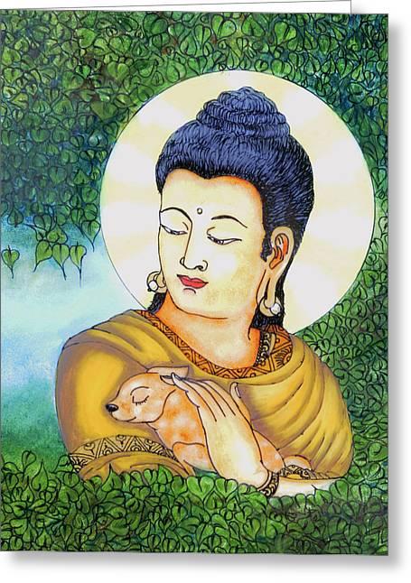 Buddha Green Greeting Card by Loganathan E