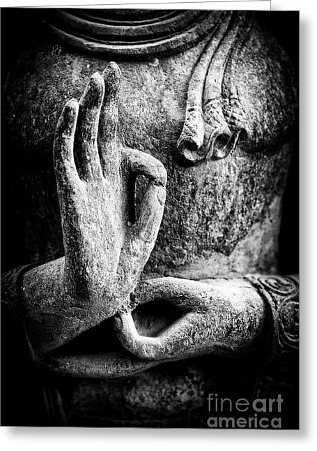 Enlightening Greeting Cards - Buddha Hand Mudra Greeting Card by Tim Gainey