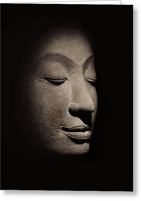 Enlightening Greeting Cards - Buddha head from the early Ayutthaya Period Greeting Card by Siamese School
