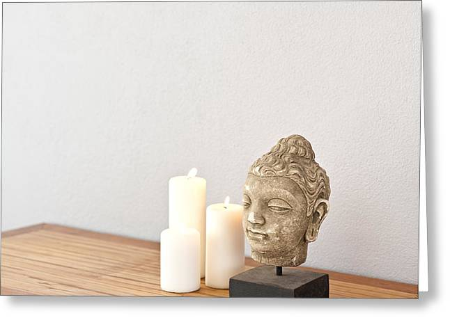 Candle Lit Greeting Cards - Buddha head with candles  Greeting Card by Ulrich Schade