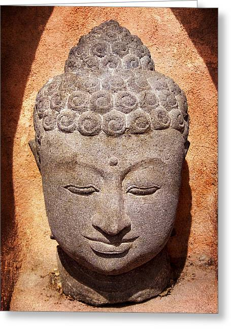 Buddha Photographs Greeting Cards - Buddha in Light and Shadow Greeting Card by Carol Leigh