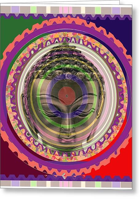 Marathon Champion Greeting Cards - BUDDHA In meditation Aura Art Greeting Card by Navin Joshi