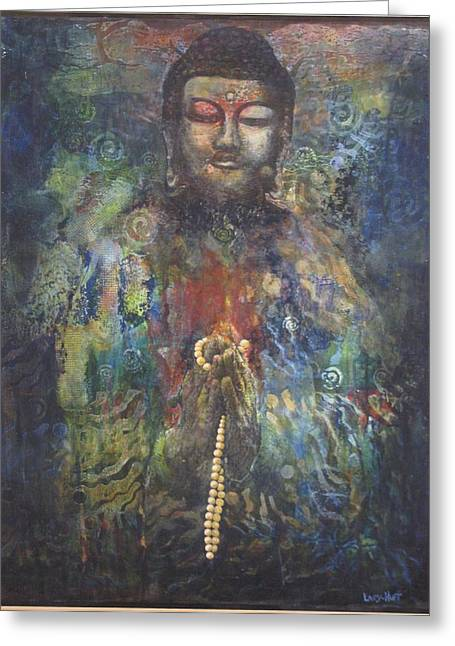 Praying Hands Greeting Cards - Buddha in Prayer Greeting Card by Sharon Lacy-Huff