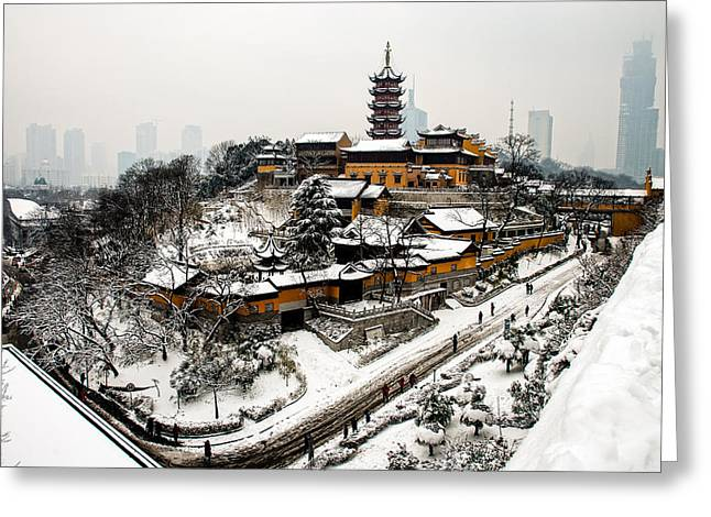 Haze Greeting Cards - Buddha - Jiming Temple in the Snow - colour version  Greeting Card by Dean Harte
