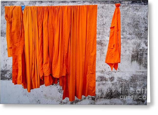 Drying Laundry Greeting Cards - Buddha - Karmic Clean Greeting Card by Dean Harte