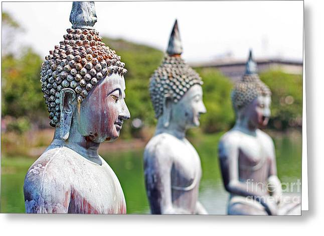 Blurred Background Greeting Cards - Buddha Greeting Card by Lars Ruecker