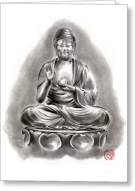 Buddha Medicine Buddhist Sumi-e Tibetan Calligraphy Original Ink Painting Artwork Greeting Card by Mariusz Szmerdt