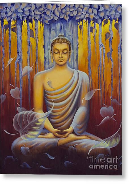 Tibetan Buddhism Greeting Cards - Buddha meditation Greeting Card by Yuliya Glavnaya