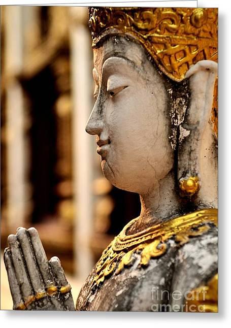 Buddha Goddess Greeting Cards - Buddha - Namaskara Mudra Greeting Card by Dean Harte