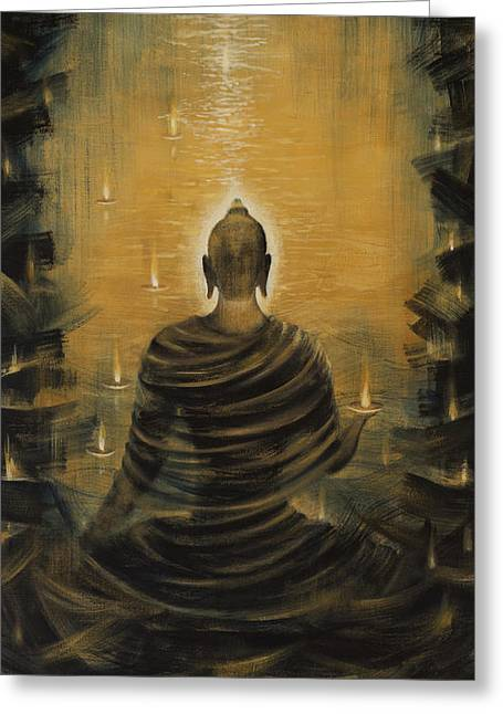 Celestial Paintings Greeting Cards - Buddha. Nirvana ocean Greeting Card by Vrindavan Das