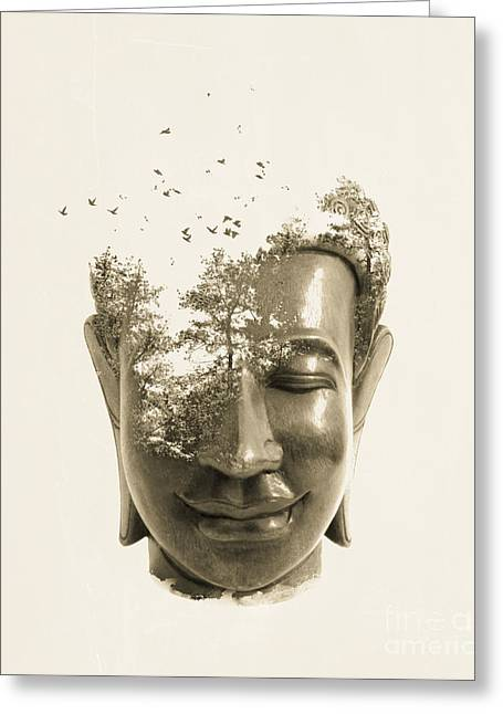 Buddhism Greeting Cards - Buddha non attachment Greeting Card by Budi Kwan