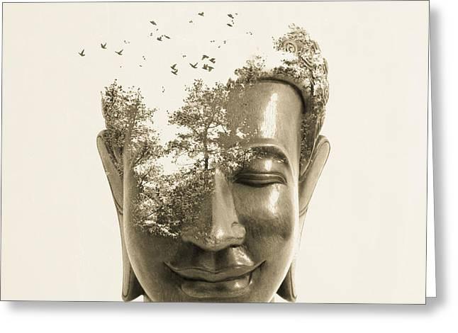 Buddha non attachment Greeting Card by Budi Kwan