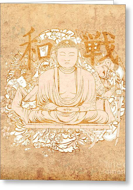 Reflection Harvest Mixed Media Greeting Cards - Buddha Painting Antique Greeting Card by Art World