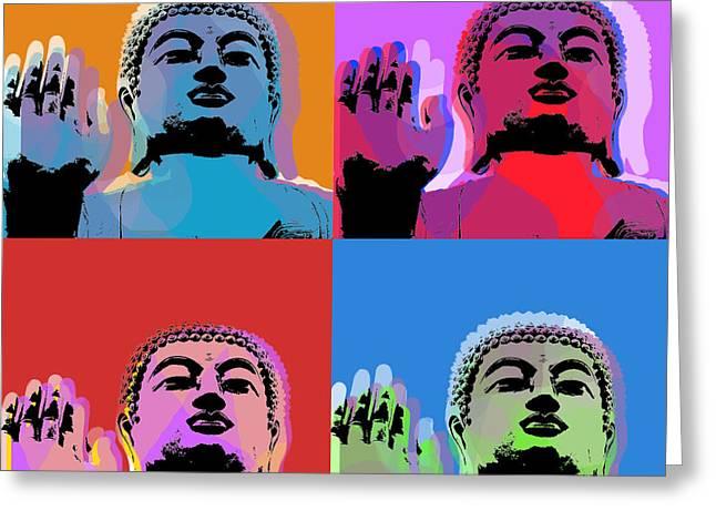 Siddharta Greeting Cards - Buddha Pop Art - 4 panels Greeting Card by Jean luc Comperat