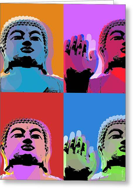 Buddha Pop Art - 4 Panels Greeting Card by Jean luc Comperat