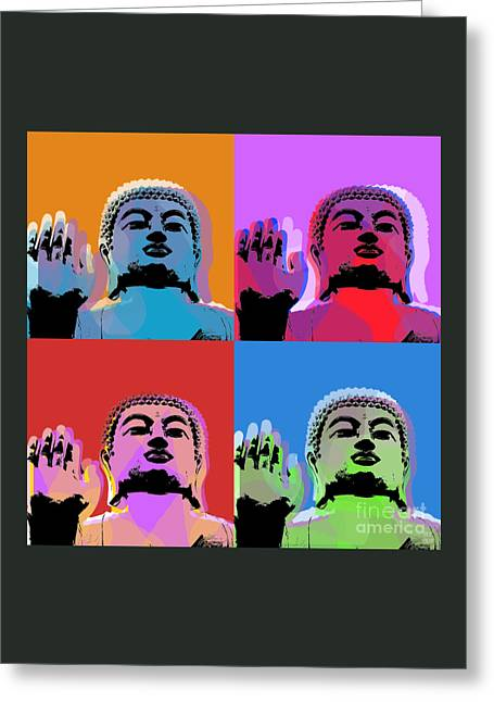 Siddharta Greeting Cards - Buddha Pop Art - 4 panels Greeting Card by Jean luc Comperat