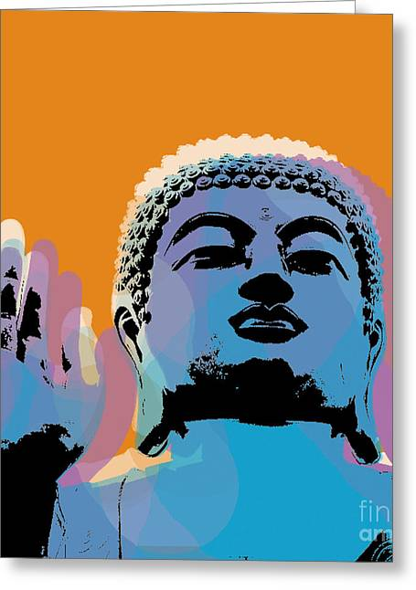 Buddha Pop Art - Warhol Style Greeting Card by Jean luc Comperat