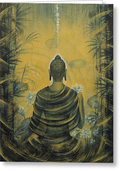Recently Sold -  - Tibetan Buddhism Greeting Cards - Buddha. Presence Greeting Card by Vrindavan Das