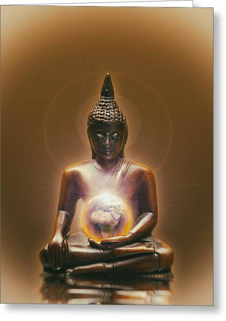 Buddhism Digital Art Greeting Cards - Protecting Earth Greeting Card by Wim Lanclus