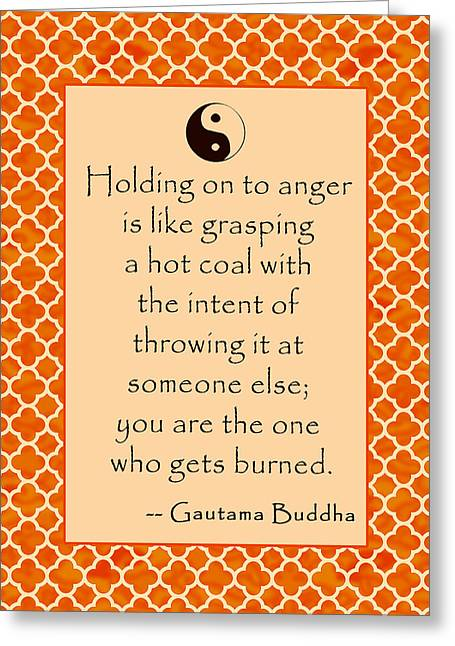 Quatrefoil Greeting Cards - Buddha Quote About Anger in Sunrise Colors Greeting Card by Scarebaby Design