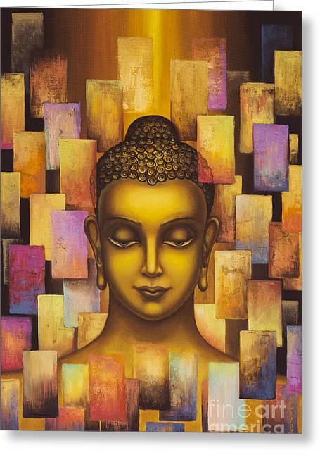 Tibetan Buddhism Greeting Cards - Buddha. Rainbow body Greeting Card by Yuliya Glavnaya