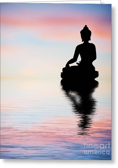 Awareness Greeting Cards - Buddha Reflection Greeting Card by Tim Gainey