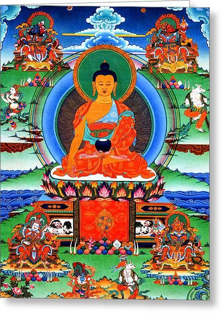 Tibetan Buddhism Greeting Cards - Buddha Shakyamuni 2 Greeting Card by Lanjee Chee
